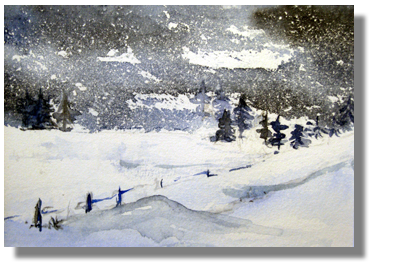 aquarellbild winterlandschaft